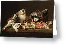 Still Life With Fishes, A Crab And Oysters Greeting Card