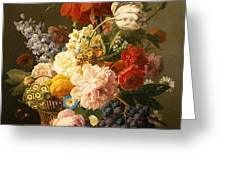 Still Life With Flowers And Fruit Greeting Card by Jan Frans van Dael