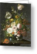 Still Life With Flowers In A Glass Vase Greeting Card