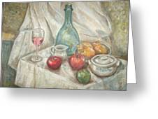 Still Life With Fruit And Wine Greeting Card