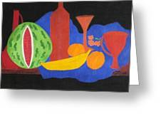 Still Life With Fruits And Glassware Greeting Card