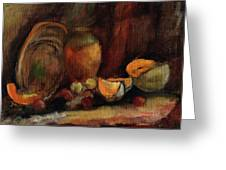 Still Life With Fruits And Pumpkin Greeting Card
