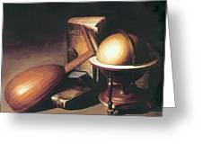 Still Life With Globe Lute And Books Greeting Card