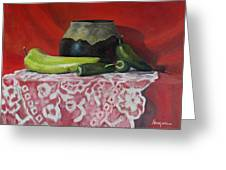 Still Life With Green Peppers Greeting Card