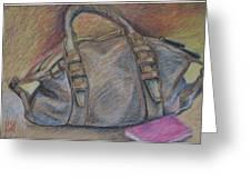 Still Life With Handbag And Notepad Greeting Card