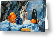 Still Life With Jugs And Oranges Greeting Card