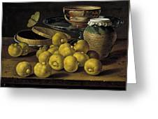 Still Life With Lemons And A Pot Of Honey Greeting Card