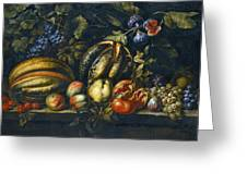 Still Life With Melons Apples Cherries Figs And Grapes On A Stone Ledge Greeting Card