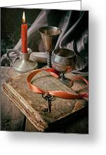 Still Life With Old Book And Metal Dishes Greeting Card
