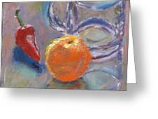 Still Life With Orange Greeting Card