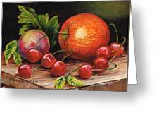 Still Life With Peaches And Cherries  Greeting Card
