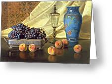 Still Life With Peaches Greeting Card by Edward Chalmers Leavitt
