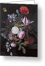 Still Life With Peonies Roses Irises Poppies And A Tulip With Butterflies A Dragonfly And Other Inse Greeting Card