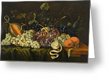 Still Life With Red Black And Green Grapes Greeting Card