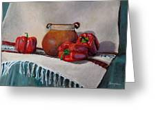 Still Life With Red Peppers Greeting Card