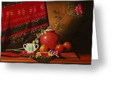 Still Life With Red Vase. Greeting Card
