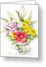 Still Life With Red Zinnia Greeting Card