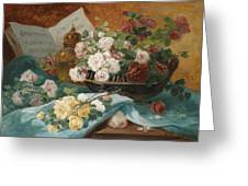 Still Life With Roses In A Cup Ornamental Object And Score Greeting Card