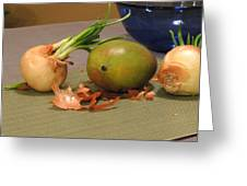 Still Life With Sprouted Onions And Mango Digital Art By