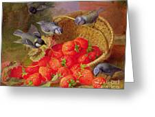 Still Life With Strawberries And Bluetits Greeting Card