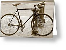 Still Life With Trek Bike In Sepia Greeting Card
