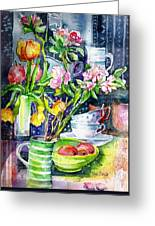 Still Life With Tulips And Apple Blossoms  Greeting Card