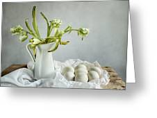 Still Life With Tulips And Eggs Greeting Card