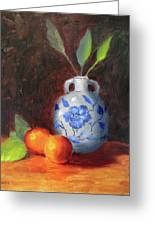 Still Life With Vase And Fruit Greeting Card