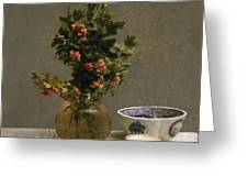 Still Life With Vase Of Hawthorn, Bowl Of Cherries, Japanese Bowl, And Cup And Saucer 1872 Greeting Card