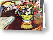 Still Life With Venison And Ostrich Pillow By August Macke Greeting Card