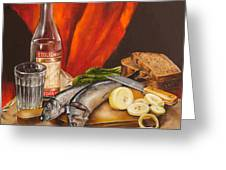 Still Life With Vodka And Herring Greeting Card by Roxana Paul