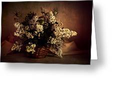 Still Life With White Flowers In The Basket Greeting Card