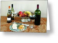 Still Life With Wine And Fruit Cheese Picture Interior Design Decor Greeting Card by John Samsen