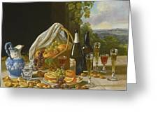Still Life With Wine And Fruit Greeting Card