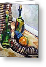 Still Life With Wine Bottles Greeting Card by Piotr Antonow