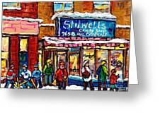 Stilwell's Candy Shop Montreal Memories Lasalle Verdun Winter City Scene Hockey Art Carole Spandau   Greeting Card