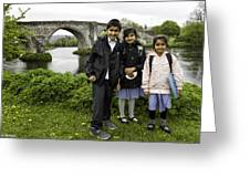 Stirling School Children By The Medieval Bridge  Greeting Card
