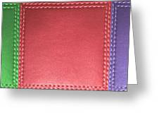 Stitched Leather Look Colorful Squares For Wall Decorations Greeting Card