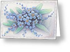 Stitched Forget-me-nots Greeting Card