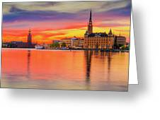 Stockholm Fiery Sunset Reflection Greeting Card