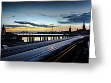 Stockholm Night - Slussen Greeting Card