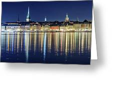 Stockholm Old City Magic Quartet Reflection In The Baltic Sea Greeting Card