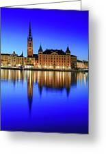Stockholm Riddarholmen Blue Hour Reflection Greeting Card