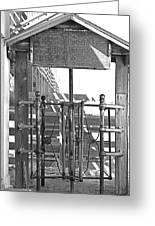 Stockyard Gate Black And White Greeting Card