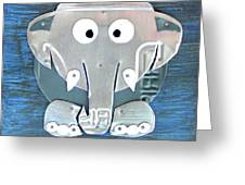 Stomp The Elephant Recycled License Plate Animal Art Greeting Card