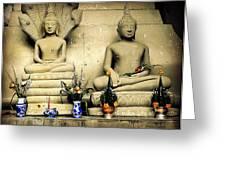 Stone And Flowers - Buddhist Shrine Greeting Card