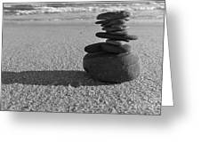 Stone Balance On The Beach In Monochrome Greeting Card