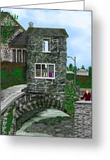 Stone Bridge House In The Uk Greeting Card