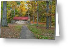 Stone Building In The Park Greeting Card