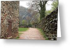 Stone Building Wall And Fence Greeting Card